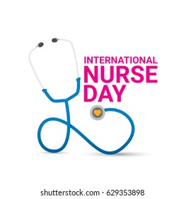 vector international nurse day vector label with stethoscope isolated on white background. vector nurses icon