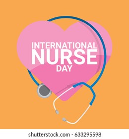 vector international nurse day vector label with stethoscope on orange background. vector nurses icon