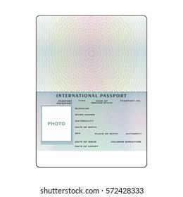 Vector international open passport blank template