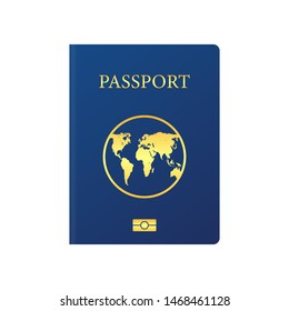 Vector international passport cover template. Blue passport on white background.