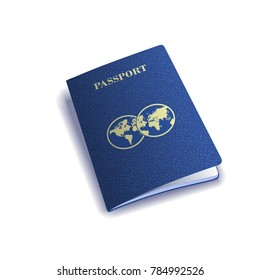 Vector international passport cover template. Travel icon.