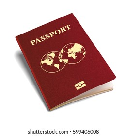 Vector international passport red cover isometric 3d template
