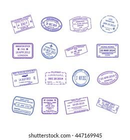 Vector international travel visa stamps set