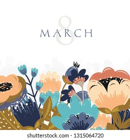 Vector International Women's Day greeting card illusttation. 8 march. Vector template with spring flower design