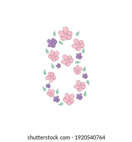 Vector International Women's Day greeting card. 8 March sign with the decor of spring plants, leaves and flowers.