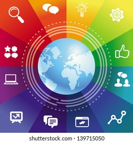 Vector internet concept with rainbow background and social media icons