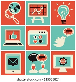 Vector internet marketing icons - set in retro style
