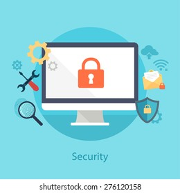 Vector internet security concept in flat style.