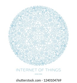 Vector internet of things circle outline icon ornament with wireless network and cloud computing digital IoT smart technology symbols in round shape mandala.