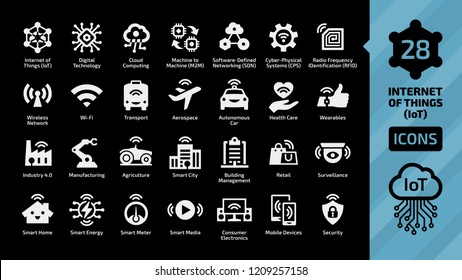 Vector internet of things icon set on a black background with wireless network and cloud computing digital IoT technology. Smart home, city, M2M, industry 4.0, transport, healthcare, business sign.