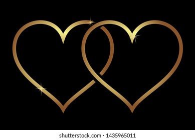 Vector. Intertwined golden hearts of love. Symbol of family, love, loyalty