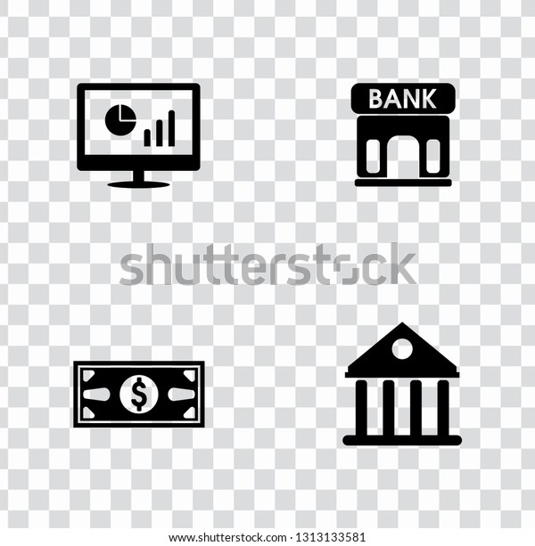 vector Investment money icons set, financial investment business - online money sign symbols