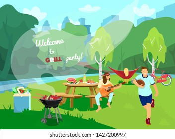 Vector invitation to barbecue party. Peopole having fun in the park. Picnic table served, barbecue with food, cooler bag with vegetables and water. Landscape, picnic scene. Catroon style.