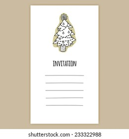 Vector Invitation Card Birthday Celebration Post With Cute Simple Illustrations