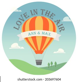 Vector invitation card with flying hot air balloon in the sky with text