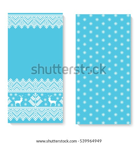 vector invitation card with folk pattern ornament ethnic new year blue ornament with pine trees