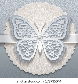Vector invitation card with ornament and butterfly