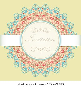 Vector invitation card with ornamental round lace with damask and arabesque elements. Mehndi style. Orient traditional ornament.