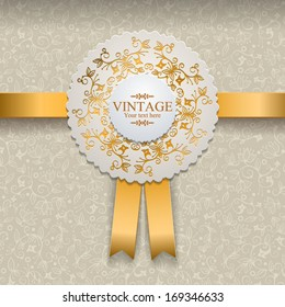 Vector invitation card with ornamental round lace