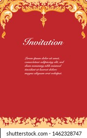 Vector of invitation card template, background and frame border, red and yellow tone color. Thai art style floral vintage illustration design