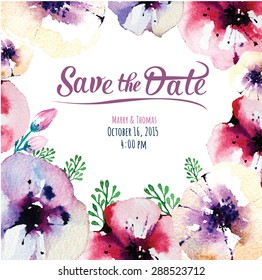 Vector  invitation card with watercolor elements. Wedding collection. Save the date with floral elements. Blossom flowers