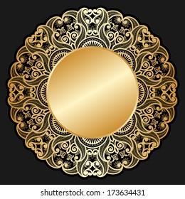 Vector invitation cards with gold circle for text and lace pattern.