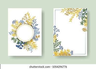 Vector invitation cards with herbal twigs and branches wreath and corners border frames. Rustic vintage bouquets with fern fronds, mistletoe twigs, willow, palm branches in gold green blue.