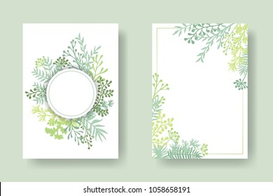 Vector invitation cards with herbal twigs and branches wreath and corners border frames. Rustic vintage bouquets with fern fronds, mistletoe twigs, willow, palm branches in light green.