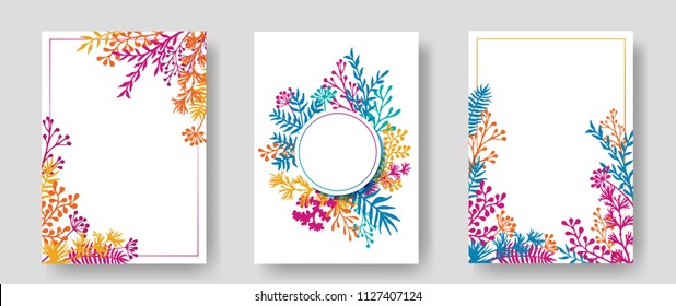 Vector invitation cards with herbal twigs and branches wreath and corners border frames. Rustic vintage bouquets with fern fronds, mistletoe twigs, willow, palm branches in orange cyan blue magenta