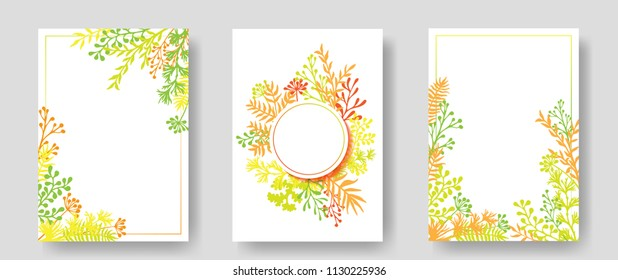 Vector invitation cards with herbal twigs and branches wreath and corners border frames. Rustic vintage bouquets with fern fronds, mistletoe twigs, willow, palm branches in green yellow orange