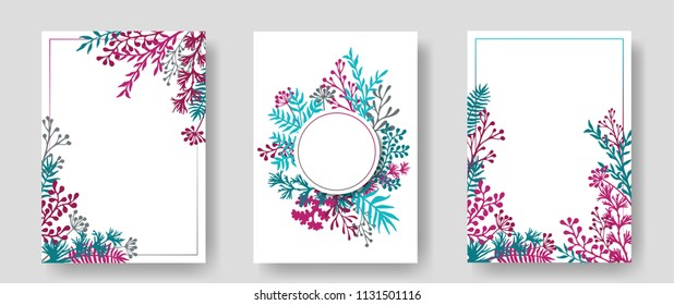 Vector invitation cards with herbal twigs and branches wreath and corners border frames. Rustic vintage bouquets with fern fronds, mistletoe twigs, willow, palm branches in cyan blue teal magenta