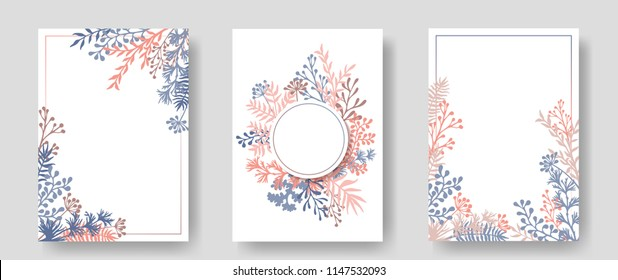Vector invitation cards with herbal twigs and branches wreath and corners border frames. Rustic vintage bouquets with fern fronds, mistletoe twigs, willow, palm branches in light pink blue colors.