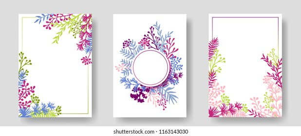 Vector invitation cards with herbal twigs and branches wreath and corners border frames. Rustic vintage bouquets with fern fronds, mistletoe twigs, willow, palm branches in pink green blue magenta