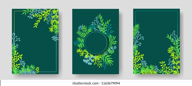 Vector invitation cards with herbal twigs and branches wreath and corners border frames. Rustic vintage bouquets with fern fronds, mistletoe twigs, willow, palm branches in green.