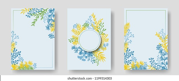 Vector invitation cards with herbal twigs and branches wreath and corners border frames. Rustic vintage bouquets with fern fronds, mistletoe twigs, willow, palm branches in blue green yellow.