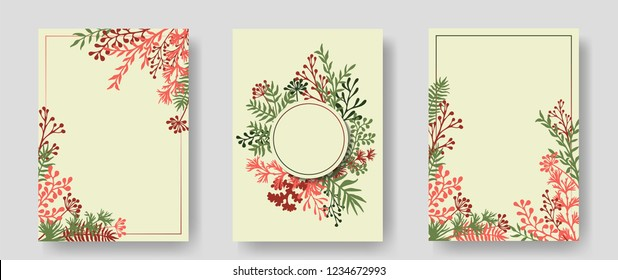 Vector invitation cards with herbal twigs and branches wreath and corners border frames. Rustic vintage bouquets with fern fronds, mistletoe twigs, willow, palm branches in red.