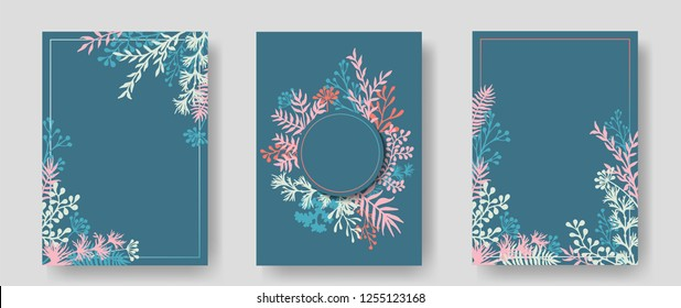 Vector invitation cards with herbal twigs and branches wreath and corners border frames. Rustic vintage bouquets with fern fronds, mistletoe twigs, willow, palm branches in turquoise.