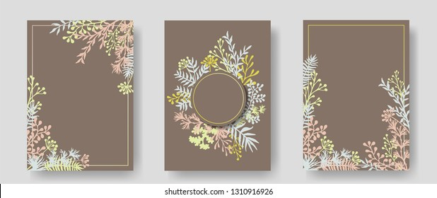 Vector invitation cards with herbal twigs and branches wreath and corners border frames. Rustic vintage bouquets with fern fronds, mistletoe twigs, willow, palm branches in brown.