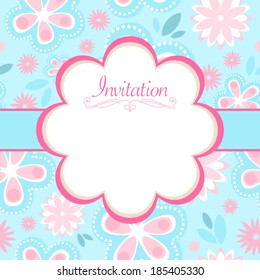 Vector invitation design with flowers