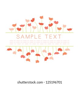 Vector Invitation Design with Pink Poppy Borders