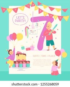 Vector invitation  design template for birthday party with bd cake, garlands, pinata, gifts, balloons, big 7 and happy kids characters. Flat cartoon style. Party poster, card, banner illustration.