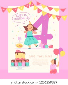 Vector invitation  design template for birthday party with bd cake, garlands, candy, gifts, balloons, big 4 and happy girls characters. Flat cartoon style. Party poster, card, banner illustration.