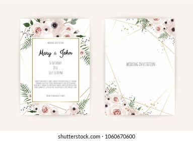 Wedding Invitation Invite Card Design Geometrical Stock Vector