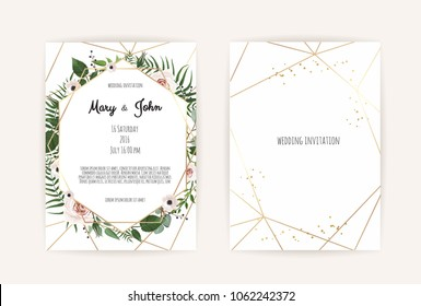 Vector invitation with handmade floral elements. Wedding invitation cards with floral elements. Vector template set