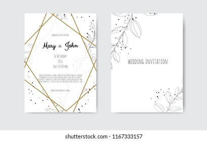 Vector invitation with handmade floral elements. Wedding invitation cards with floral elements.