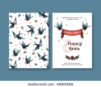 Vector invitation with swallows in old school style tattoos. Wedding invitation collection. Greeting card with birds and ribbon. Elegant invitation.