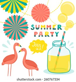"Vector invitation template with flamingos, mason jar with lemonade, bubbles, decorative elements and hand written stylish  text ""Summer party. Join us"". Vintage funny background."