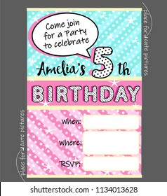 Vector invitation template for girly party. Cute invite card for birthday, baby shower for girl. Trendy doll style. Blue, pink and yellow funny pattern. Holiday background for kids. Black polka dots