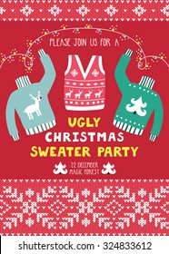 "Vector invitation template with ugly sweaters, scandinavian ornaments and text ""Please join us for a ugly Christmas sweater party"". Holiday background with knitted elements. Christmas card."