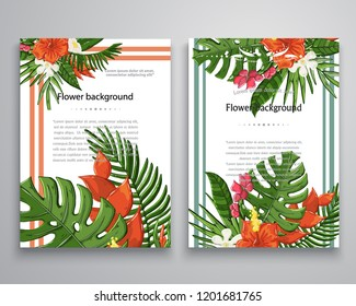 Vector invitations or announcements tropical flovers and leaves background with palm branch,monstera leaf ,hibiscus.Template with tropical flovers design,design.Greeting card.Event tropical card